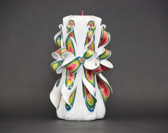 Decorative candles Carved candles Yellow candle Gift ideas