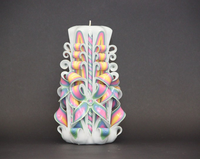Big White Rainbow, Braids candle, Carved candles, Decorative candles, Gift ideas, Wall decor, Art decor, Unique gift, Kiss, Lips, Loveyou