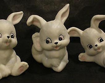Homco 3 White Bunnies Rabbits 1458 Ceramic