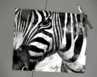 Zebra drawing on thick paper