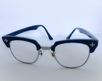 Bausch and Lomb Safety Glasses from the 1950's vintage nerd glasses