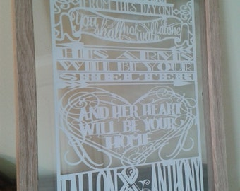 Personalised Wedding or Engagement quote Paper Cut in Floating Frame