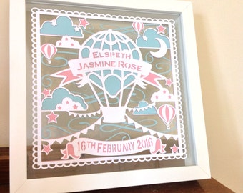 New Baby Personalised Vintage style - Hot air balloon- Layered Paper Cut Floating Box Frame