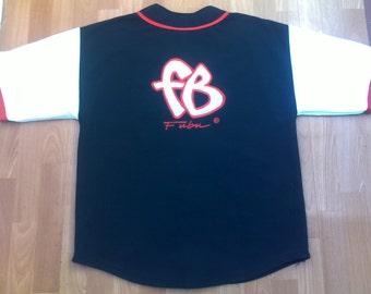 FUBU t-shirt, vintage jersey of 90s hip-hop clothing, 1990s hip hop shirt, OG, gangsta rap, buttoned sewn, size L