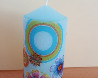 Decorative candle pillar candle 10 cm decoupage romanticism for every occasion