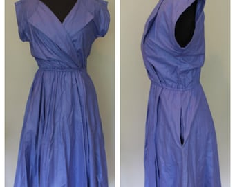 Vintage Periwinkle Elastic Waist Fit and Flare Dress - 70s, 80s, Purple Blue - Calvin Benson for Brioche- Size Small, Extra Small, S, XS
