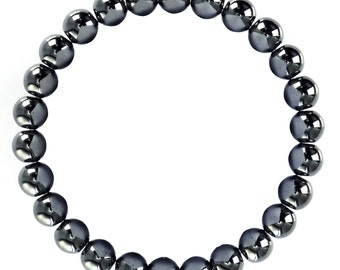 "Natural Hematite Bracelet Size 10mm/8mm. Length 7.5"" Smooth Gemstone Elastic w/Cord Bracelet. B-HEM-0160"