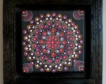 Dot Painting Acrylic Miniature Original Art Mandala