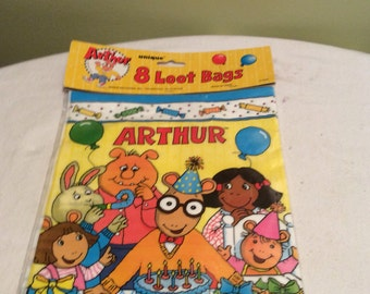 Vintage Arthur Loot Bags Eight Still in Package Birthday Party Goodie Bag Supplies Childrens Party