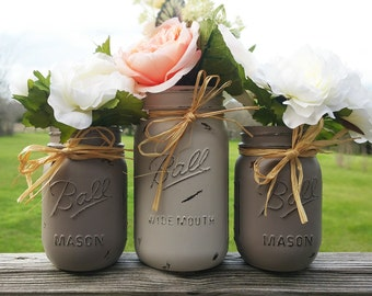 Gray Mason Jars, Wedding Table Centerpiece, Quart and Pint Painted Jars