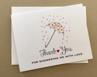 set of 12 bridal shower thank you cards bridal shower umbrella cardsa2