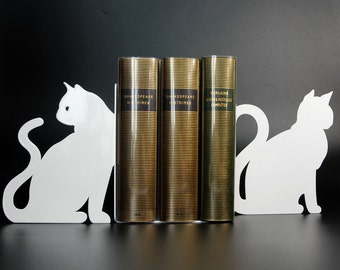 Pair of bookends cats in black or white