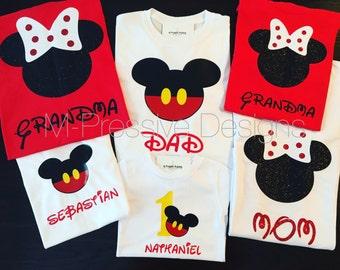 Coordinating Mickey/Minnie Family Shirts