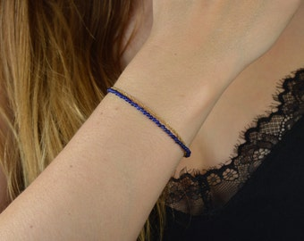 Lapis lazuli bracelet * and fine adjustable chain