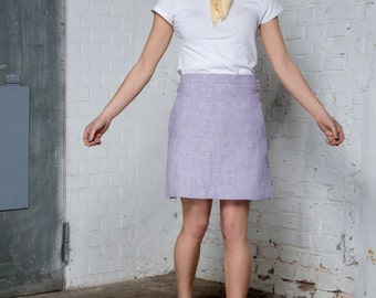 Lavender high waisted mini skirt hemp fabric
