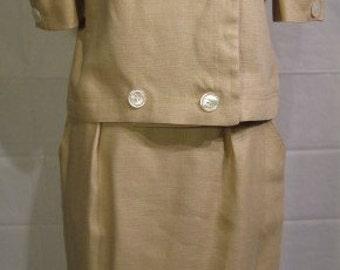 Oscar De La Renta Light Khaki Double Breasted Suit Size 12 Vintage 1980s
