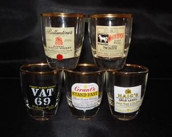 Whisky shot glasses set of five
