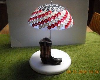 Lighted Red White & Blue Patriotic Western Boot with Umbrella. Item U12