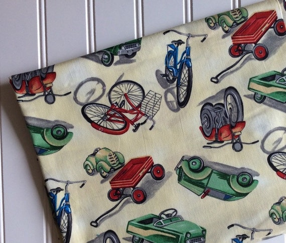 Michael miller fabric by the yard on the move kids vintage for Vintage childrens fabric by the yard