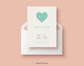 PRINTABLE A6 Save The Date - Heart - Pastel - Typewriter - Wedding Invitation - Cute - Simple - barn- diy - DIGITAL DOWNLOAD