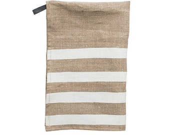 Pondicherry linen tea-towel, isla white on natural