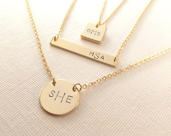 Monogram Necklace / Modern Monogram/ in order of First • Last • Middle Name Initials /For Bridesmaid, Birthday, Sisters & All