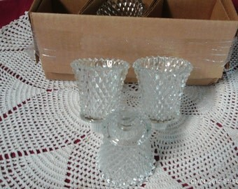 "4 Home Interiors Homco Diamond pattern Votive cups clear with grommets 3 1/2"" tall"