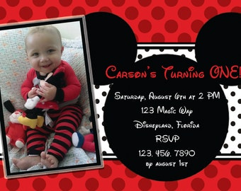 Micky Mouse First Birthday Invitation