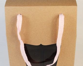 set of 10 Kraft Paper Boxes with pink rope 18*14.5*10 cm