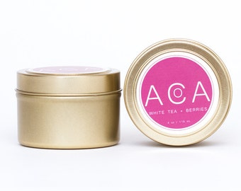 Soy Wax Candle-Gold Tin Candle-Travel Candle-100% Soy Wax-All Natural Candles-Eco Friendly Candles-Hand Poured Candle-White Tea Berries