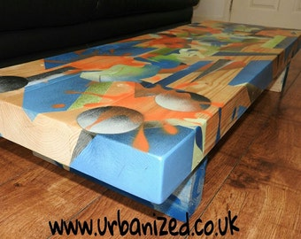 "Graffiti solid wood coffee table,urban art style ""Abstract"" range"