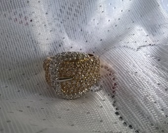 Vintage wide  sterling silver goldplated and cz buckle ring size 8