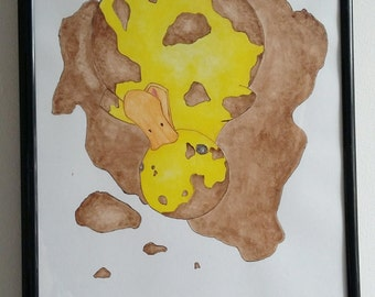 Quacking mud - Children's illustration - A4 print