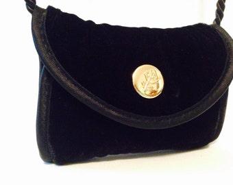 Black Velvet Coin Purse, Vintage Purse