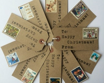 Vintage Christmas Wrapping Paper - Christmas Gift Tags - Christmas Labels - Holiday Gift Tags - Postage Stamps - Handmade Christmas