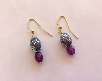 Earrings, multi colored beads with purple crystal