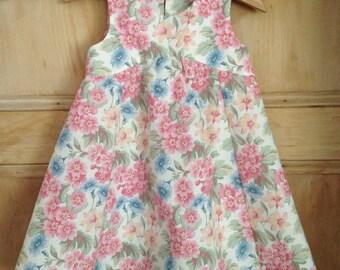 Handmade girl's dress, vintage fabric girl's dress, christening dress, party dress, girls special dress, baby dress, heirloom dress