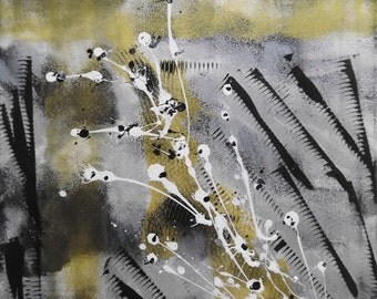 Original, Abstract Painting, Acrylic Painting, Modern Art, Splatter, Stretched Canvas, 40x50cm, Black, White, Silver, Gold, Unique Painting