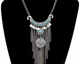 Gypsy Tribal Long Boho Necklace
