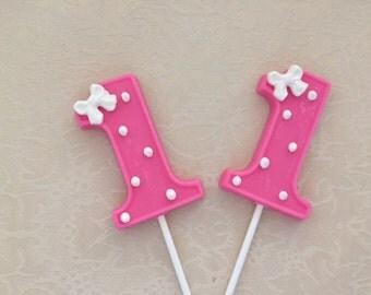 NUMBER ONE Chocolate Lollipops - 1st BIRTHDAY/First Birthday Favors/Number One Lollipops/Party Favors/Baby's First Birthday/Chocolate 1 Pop