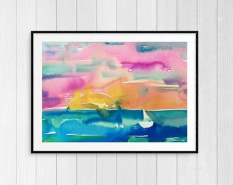 Sail and Sunshine 1 Original Watercolor Painting