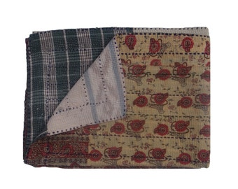 Beautiful One Of Kind  Reversible Kantha Quilt Heavy Kantha Handmade Throw Cotton Thread Stich Kantha