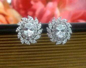 Rhinestone Cluster, Luxe Wedding Earrings, Crystal Stud Earrings, Bridal Earrings, Cluster Earrings, Wedding Jewelry, Bridesmaid Earrings