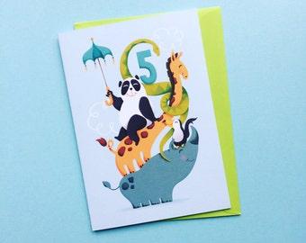 5th Birthday Greeting Card - Age 5 Animal Birthday Card - Fifth Bday Zoo Greating Card - Five Years Circus Card