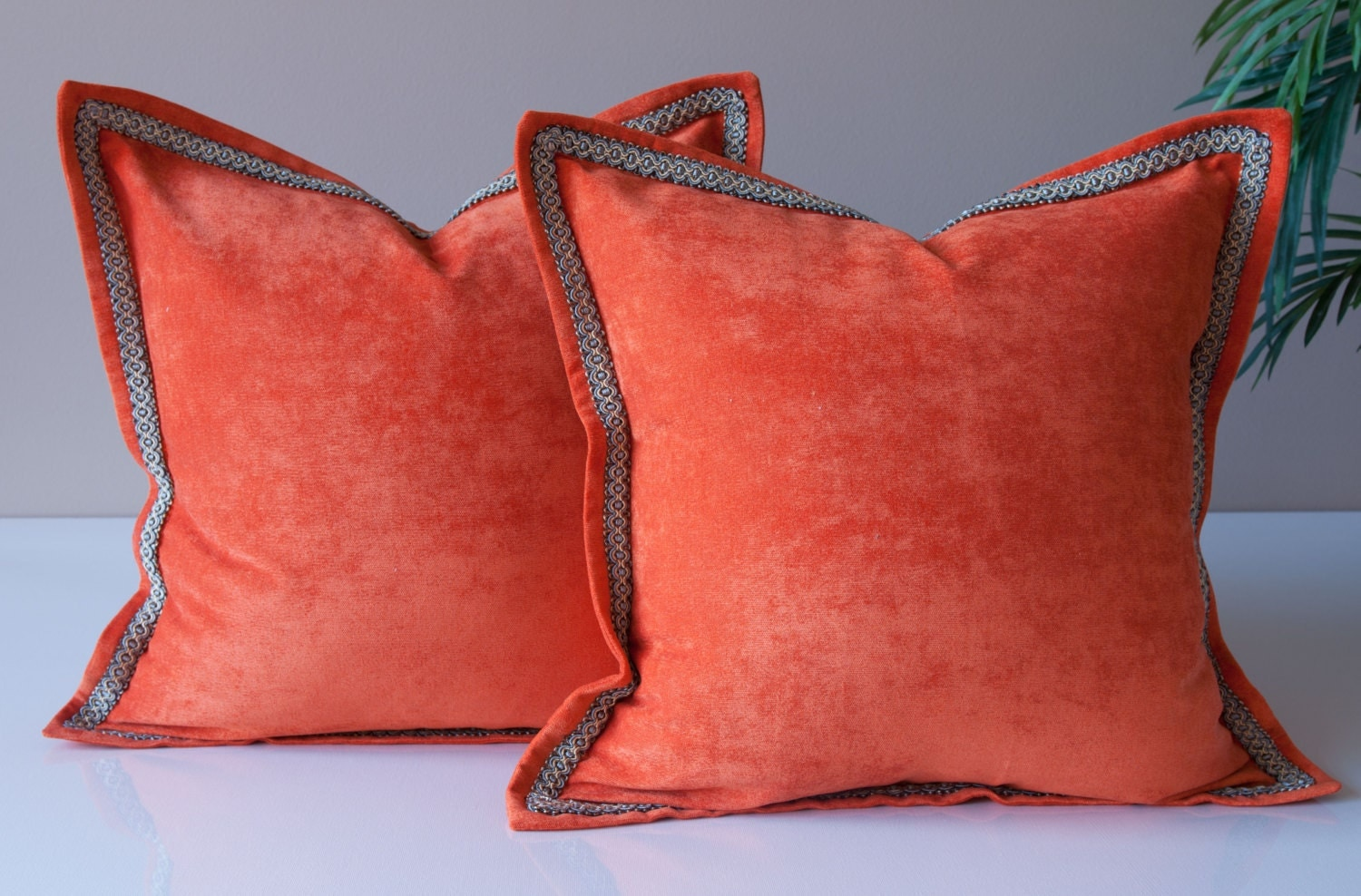 SET OF 2 Orange Velvet Throw Pillow Covers Solid Throw Pillow