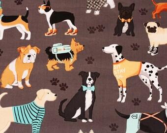 Animal) Dog, Puppy Patterned Fabric, Clothworks, by Half Yard