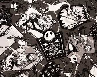 "Tim Burton's the Nightmare Before Christmas Oxford Fabric made in Japan, FQ 45cm by 53cm or 18"" by 21"""