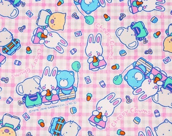 """Cheery Chums Sanrio Character Fabric made in Japan, Rabbit FQ 45cm by 53cm or 18"""" by 21"""""""