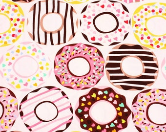 Doughnut patterned Fabric Maude Asbury by blend' lolly by the Half Yard White