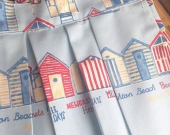 Handmade, blue beach hut and named seaside towns midi skirt. Pockets and pleats. British Style! Elegant